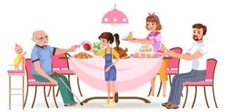 De familie die diner eten thuis, gelukkige mensen eet voedsel samen, behandelen het mamma en de papa grootvaderzitting door eetta stock illustratie