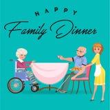 De familie die diner eten thuis, gelukkige mensen eet voedsel samen, behandelt het mamma grootvaderzitting door eettafel, neemt h stock illustratie