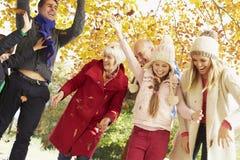 De Familie die van de Multlgeneratie Bladeren in Autumn Garden werpen Stock Afbeelding
