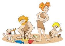 De familie die van de steenleeftijd brand maken vector illustratie