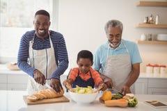 De familie die van meerdere generaties voedsel in keuken voorbereidt Stock Afbeeldingen
