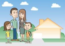De familie en het huis van het beeldverhaal Royalty-vrije Stock Afbeelding