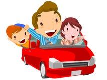 De familie gaat naar vrije tijd door de auto royalty-vrije illustratie