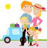 De familie gaat voor het reizen Royalty-vrije Stock Fotografie