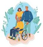 De familie of de groep vrienden met maakt meisje in rolstoel onbruikbaar stock illustratie