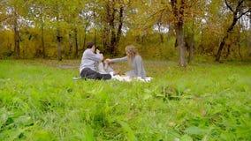 De familie in het de herfstpark die Frieten, op een picknick, mamma eten veegt haar mondkinderen af stock videobeelden
