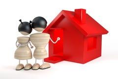 De familie koopt huis Stock Foto's