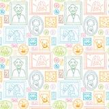 De familie ontworpen achtergrond van het beelden naadloze patroon Stock Foto