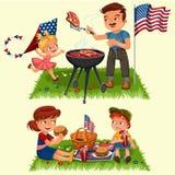 De familie in park rusten of tuin, papa die vlees bij de grill de roosteren, mum holdingsbaby, meisjes speelt op groen gras met v stock illustratie