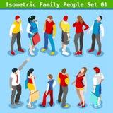 De familie plaatste 01 Isometrische Mensen Stock Foto's