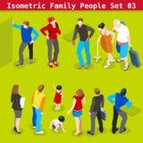 De familie plaatste 03 Isometrische Mensen Royalty-vrije Stock Foto's