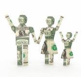 De familie van de één dollarrekening het origamy 3D teruggeven Stock Afbeeldingen