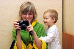 De familie van de fotograaf royalty-vrije stock fotografie