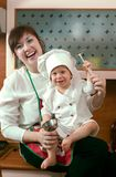 De familie van de kok Stock Afbeeldingen