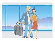 De familie van de luchthaven Stock Afbeelding