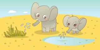 De familie van de olifant Stock Foto