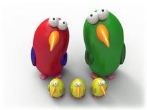 De familie van de papegaai Stock Afbeeldingen