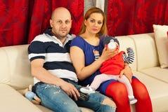 De familie van de schoonheid thuis Stock Afbeelding