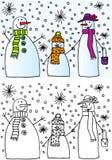 De familie van de sneeuwman Stock Afbeeldingen