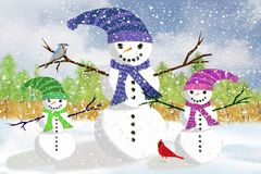 De Familie van de sneeuwman Royalty-vrije Stock Fotografie