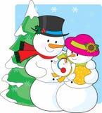 De Familie van de sneeuwman Royalty-vrije Stock Afbeeldingen