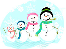 De Familie van de sneeuwman Stock Foto