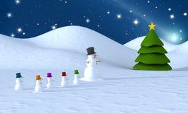 De familie van de sneeuwman en Kerstmisboom Stock Afbeelding