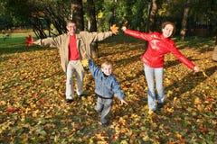 De familie van de vlieg in de herfstpark stock afbeelding