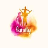 De familie van de Watercolourstijl stock illustratie