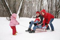 De familie van de winter op slee stock foto's