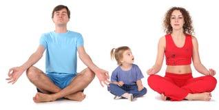 De familie van de yoga Stock Foto