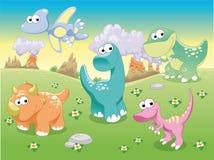 De Familie van dinosaurussen met achtergrond. Stock Afbeelding