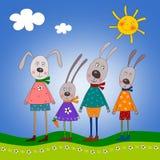 De familie van het konijntje Stock Foto