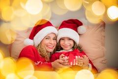 De Familie van Kerstmiskerstmis Vakantie de Winter Stock Foto's