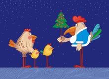 De familie van kippen viert Kerstmis Stock Fotografie
