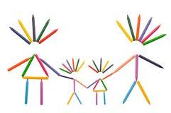 De Familie van kleurpotloden op Wit Royalty-vrije Stock Afbeelding