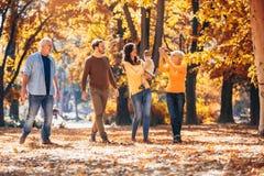 De familie van de Multlgeneratie in de herfstpark stock fotografie