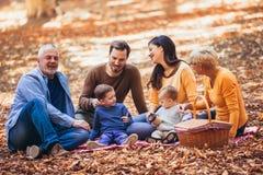 De familie van de Multlgeneratie in de herfstpark stock afbeelding
