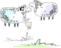De familie van schapen Stock Afbeeldingen