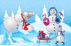 De familie van de sneeuwman op rode achtergrond Stock Afbeeldingen