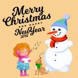 De familie van sneeuwman in zwarte hoed en handschoenen, rode sjaal bond rond hals, neus van de wortel, meisje het zingen vakanti Stock Afbeelding