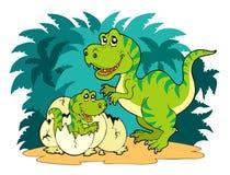 De familie van tyrannosaurussen rex Stock Afbeeldingen