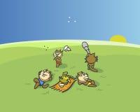 De familie van wasberen op vakantie Stock Foto's