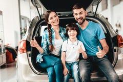 De familie zit in de Boomstam van een Nieuwe Auto stock afbeelding
