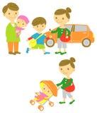 De familieaandrijving, neemt een gang, baby stock illustratie