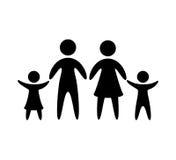 De familieouders silhouetteren geïsoleerd pictogram stock illustratie
