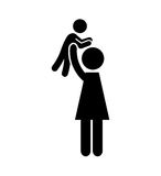 De familieouders silhouetteren geïsoleerd pictogram royalty-vrije illustratie