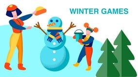 De de Familierecreatie van de winterspelen motiveert Banner vector illustratie