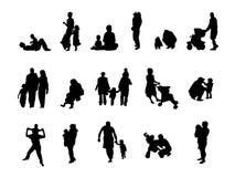 De familiereeks van het silhouet Stock Foto's