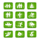 De familiereis en sport van pictogrammen Stock Fotografie